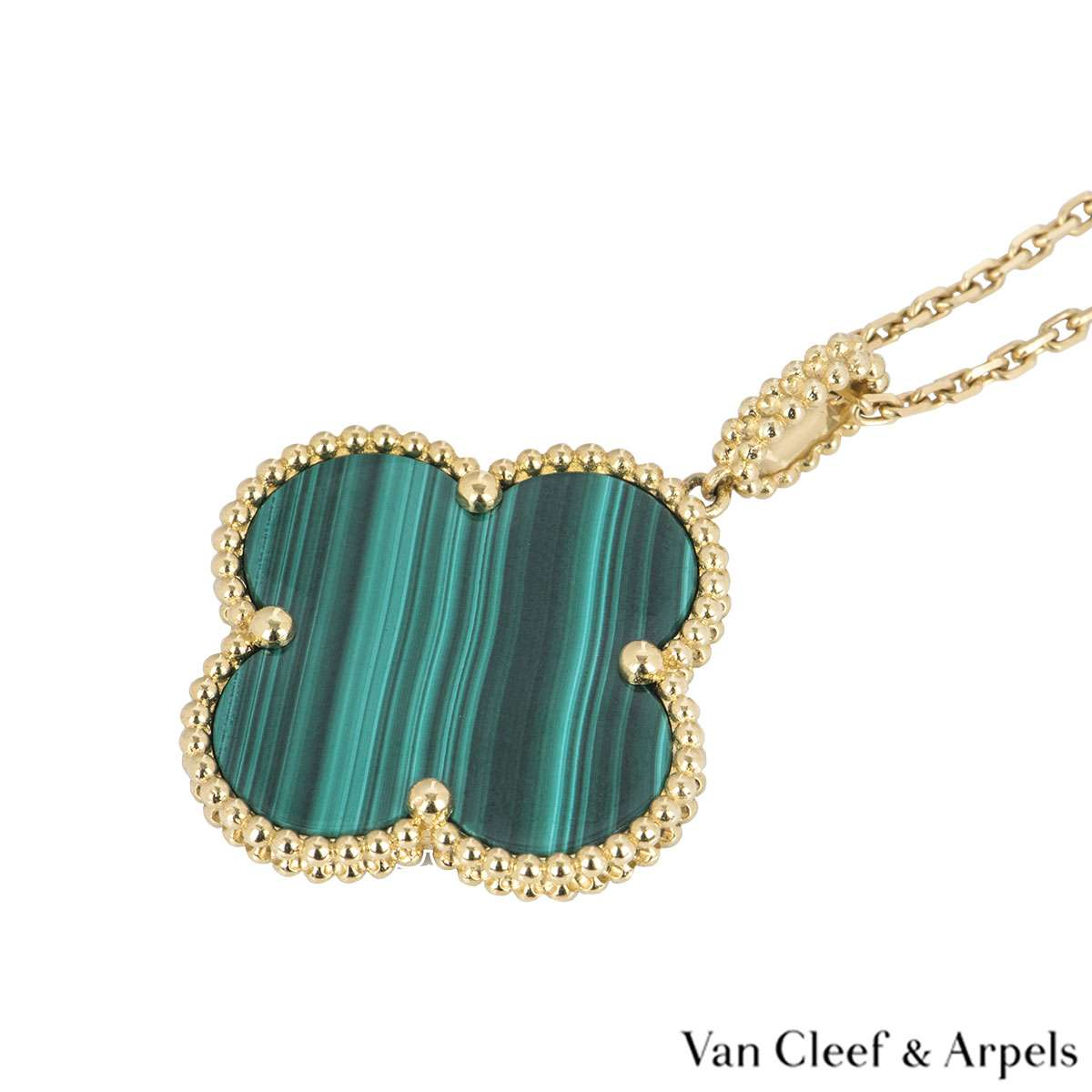 Van Cleef & Arpels Yellow Gold Malachite Magic Alhambra Necklace VCARO3MG00
